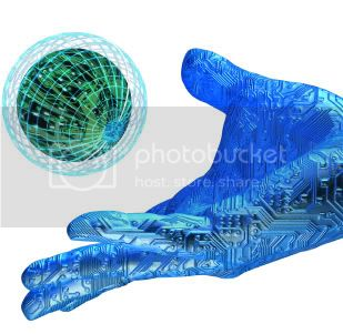 Blue Hi-Tech Hand with Globe