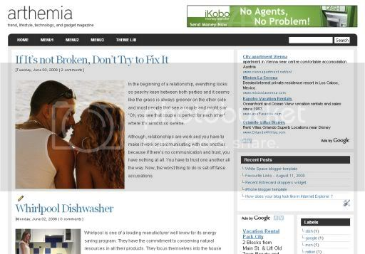 Arthemia magazine blogger template
